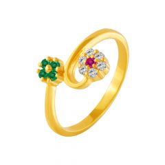 Entwine Floral Gemstone CZ Gold Ring