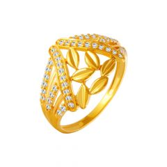 Dazzle Leaf CZ Gold Ring