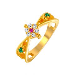 Traditional Gemstone CZ Gold Ring