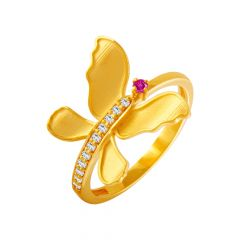 Creative Golden Butterfly Gemstone CZ Ring