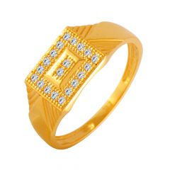 Classic Geometric CZ Diamond Ring For Him