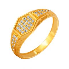 Spunky Geometric CZ Diamond Ring For Him