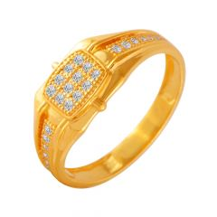 Valiant Geometric Cluster CZ Diamond Ring For Him