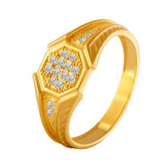 Audacious Octagon Cluster CZ Diamond Ring For Him