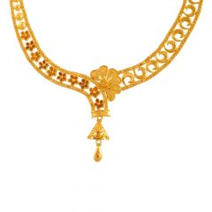 Heavenly Floral Traditional Gold Necklace