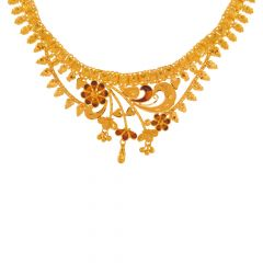 Swish Floral Traditional Gold Necklace