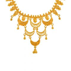 Traditional Scallop Layered Gold Necklace