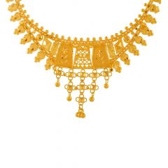 Delicate Traditional Cutout Gold Necklace Set