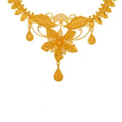 Traditional Floral Cutout Gold Necklace