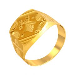 Elite Engraved Textured Gold Ring For Him
