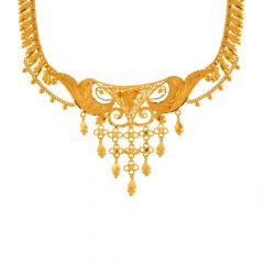 Ceremonial Traditional Cutout Dangler Gold Necklace