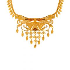 Dainty Traditional Enamel Dangler Gold Necklace