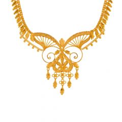 Elegant Textured Traditional Gold Necklace