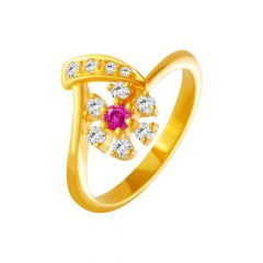 Interlinked Floral Gemstone CZ Gold Ring
