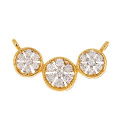 Sparkling Prong Set Tri Circle Floral Design Diamond Tanmaniya