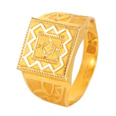 22kt Gold Diamond Cut Mens Ring - 24140