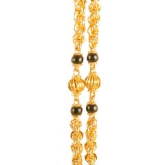 22kt Gold Diamond Cut Ball With Rope Mangalsutra Chain - 25213