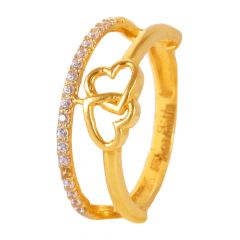 22kt Gold Pave Set CZ Dual Heart Ring - 25523