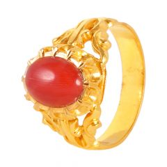 22kt Gold Glossy Finish Coral Studded Mens Ring - 25700