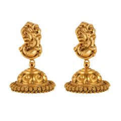 22kt Gold Temple Jewellery Peacock Jhumki Earring - 26122