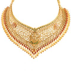 22kt Gold Temple Jewellery Mutlicolour Oxidise Chokar Necklace - 26339