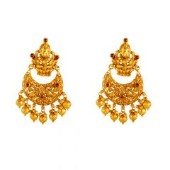 22kt Gold Temple Jewellery Drop Gold Ball Earring - 26434