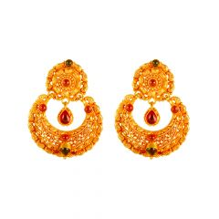 22kt Gold Multicolour Stone Chandbali Earring - 26460