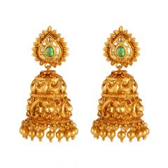 22kt Gold Temple Jewellery Multicolour Stone Jhumki Earring - 26596