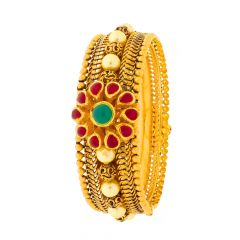 Matte Antique Finish Filigree Gold Bead Ball With Floral Design Multicolour Synthetic Stone Openable Gold Bangle