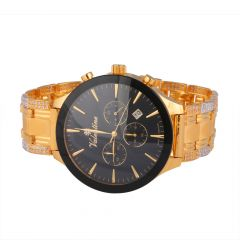 Box Links CZ 22kt Gold Watch - 28-A6744