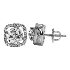 18kt White Gold Pave Prong Set Cluster With Solitaire Diamond Square Earring-2DAQL