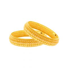 Traditional Textured Gold Bangle (Set Of Two)
