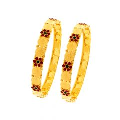 Traditional Lakshmi Coin Gemstone Gold Bangle (Set Of Two)