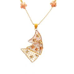 Stylish Cutout Layered Floral Gold Pendant Necklace