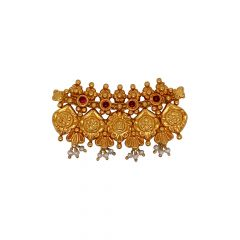 Traditional Textured Floral Gemstone Gold Tanmaniya