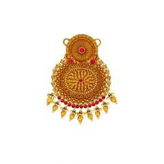 Ceremonial Textured Floral Gemstone Gold Tanmaniya