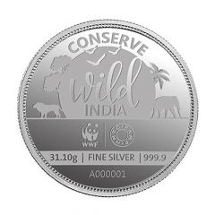 31.10 Gms 999 Purity MMTC Converse Black Necked Crane Wild India Silver Coin