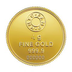 4 Gms 999 Purity MMTC Lotus Fine Gold Coin