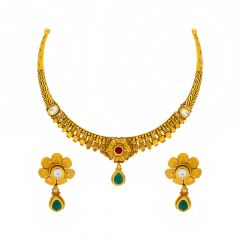 Traditional Textured Floral CZ Gemstone Gold Necklace Set