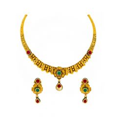 Ceremonial Textured Floral Dangler Gemstone Gold Necklace Set