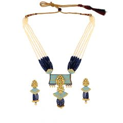 Ceremonial Enamel Kundan Gemstone Gold Necklace Set