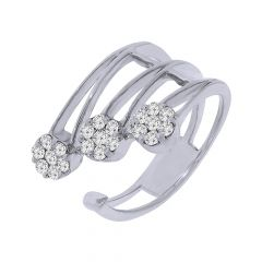 Glitter Cluster Cutout Front Open Diamond Ring