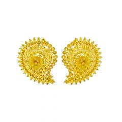 Traditional Paisley Embossed Floral Gold Earring