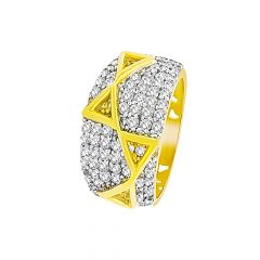 Trendy Cluster CZ Cutoutb Band Gold Ring