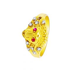 Classic CZ Gemstone Lion Face Ring For Him