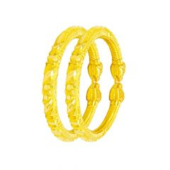 Ceremonial Texuted Gold Kada Bangle (Set Of Two)