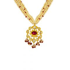 Classic Natural Pearl Ruby Kundan Gemstone Necklace