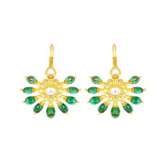 Traditional Floral Natural Emerald Kundan Hook Gold Earrings
