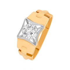 Trendy Solitaire CZ Rhodium Gold Ring For Him