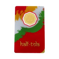 Half Tola Symbol Embossed 5.83 Gms 24k 999 Purity Fine Gold Coin